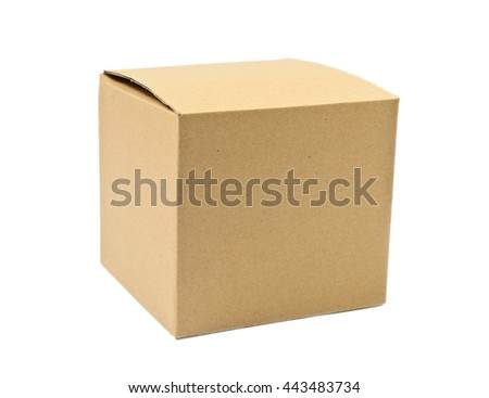 Single closed cardboard  box over white background