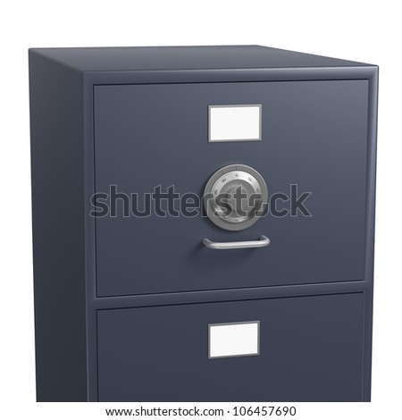 Single closed grey filing cabinet with locked drawer using a safe dial on white background - stock photo