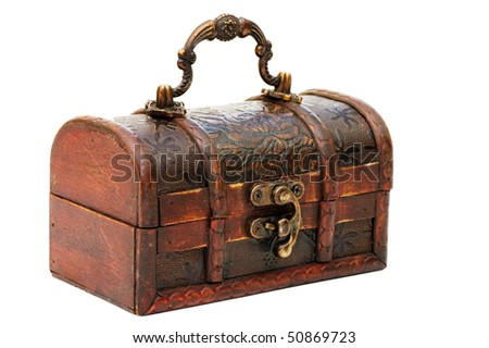 single closed wooden chest with metal ornament - stock photo
