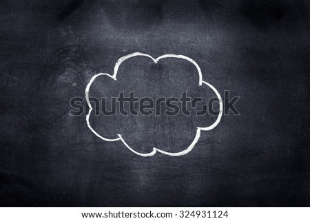 Single cloud drawn with white chalk on chalkboard