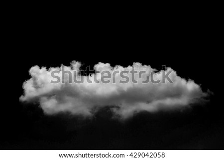 Single clouds on black background