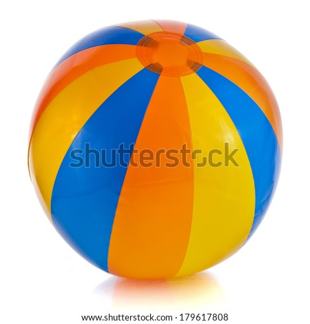 Single Colorful Inflatable PVC ball isolated on white background - stock photo