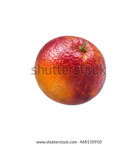 Single colorful red sicilian orange isolated on white