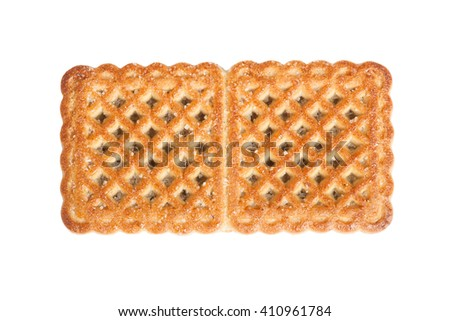 Single cookie isolated on white background - stock photo