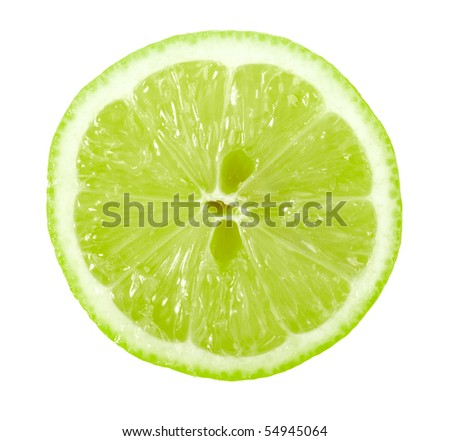 Single cross section of lime. Isolated on white background. Close-up. Studio photography.