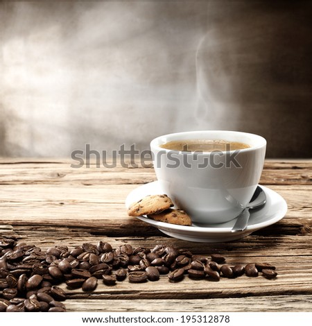 single cup of hot coffee