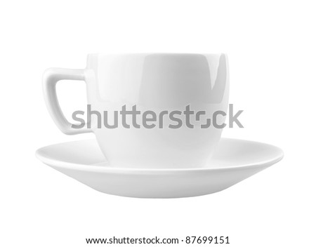 Single cup on white background