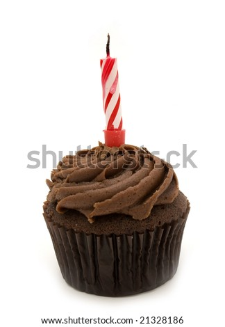 single cupcake with one red candle - stock photo