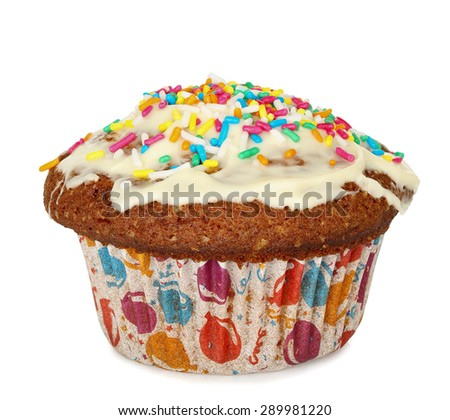 single cupcake with sprinkles isolated on white - stock photo