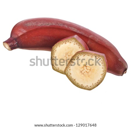 Single dark red banana fruit  over white background - stock photo