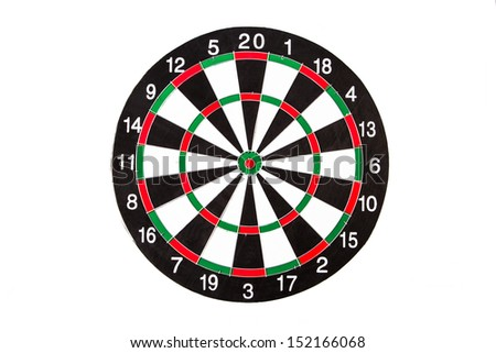 Single dart board with black and white sections, isolated on white background.