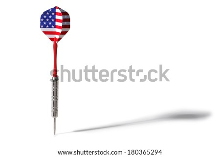 Single dart with American flag pattern on white background with shadow - stock photo