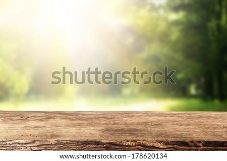 single desk and garden  - stock photo