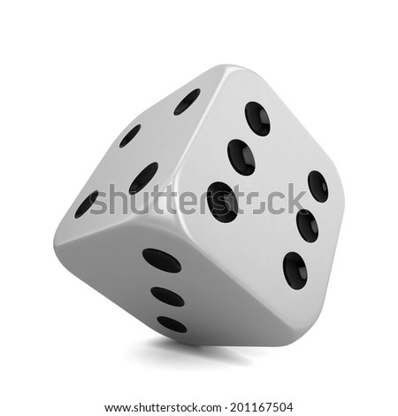 Single dice. 3d illustration isolated on white background  - stock photo