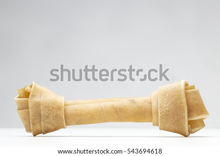 single dog bone shot in the studio on white background