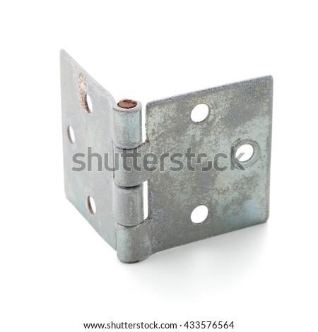 Single door hinge isolated on white background. - stock photo