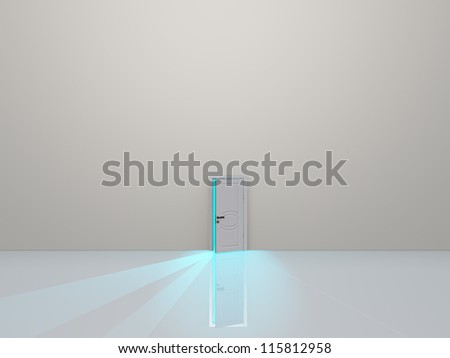 Single door in pure white space emaits light - stock photo