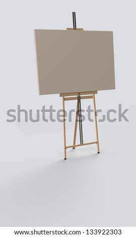 Single easel on the floor isolated on white