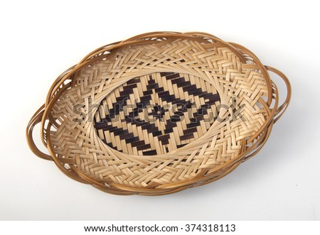 single empty wicker basket isolated on white background