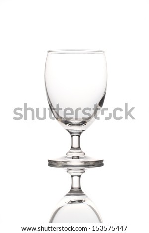 single empty wine glass isolated on the white background