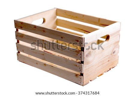 Single empty wooden board container used to carry fruit or vegetables over isolated white background - stock photo