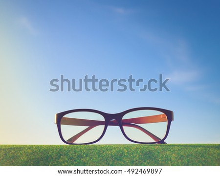single eyeglasses with beautiful sky on dawn time.