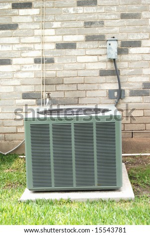 single family dwelling air conditioner - stock photo