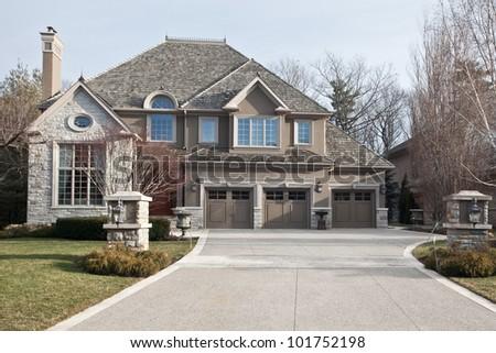 Single family home in suburban area - stock photo