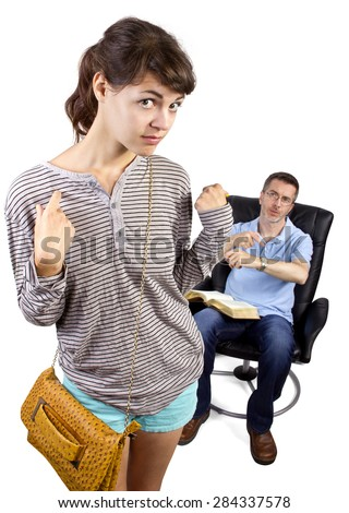 Single father waiting for daughter to come home late past curfew.  The single parent is sitting on a chair.  They are isolated on a white background. - stock photo