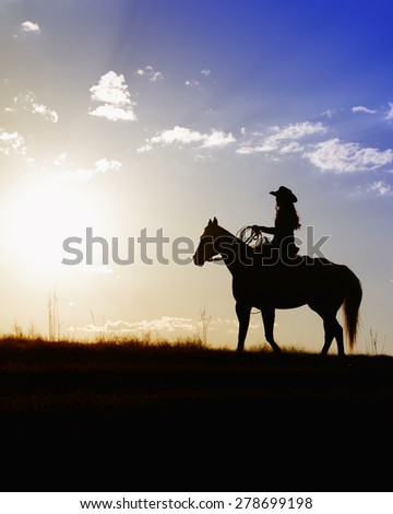 Single female on horse looking into the soft glow of the colorful afternoon sunset - stock photo
