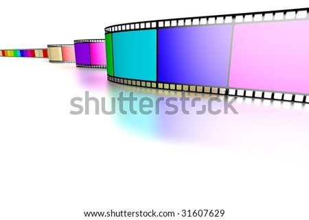 Single Film strip on floor moving towards camera in perspective on white background with floor reflections