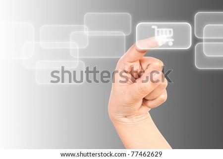 Single finger press buy icon. - stock photo