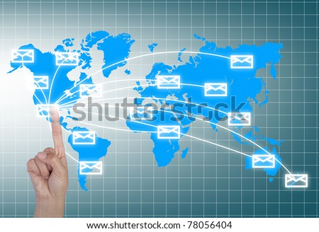 Single finger press mail in world wide. - stock photo