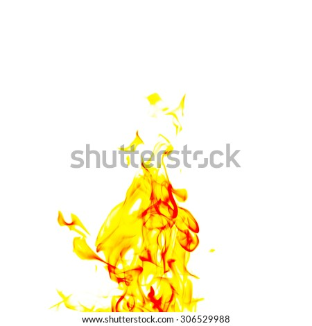 single fire flame on black background in high resolution. - stock photo