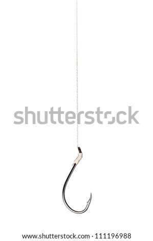 Single fish hook isolated on white background - stock photo