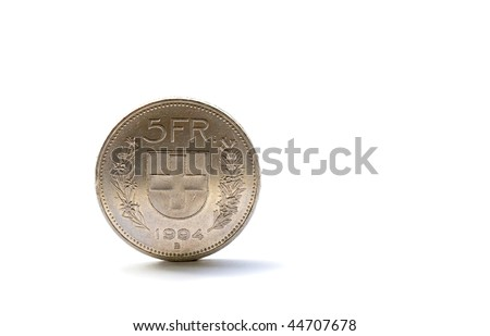 Single five Swiss franc coin isolated on white background - stock photo