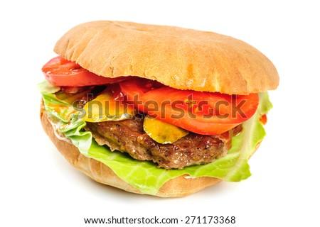 single fresh realistic looking hamburger isolated on white background - stock photo