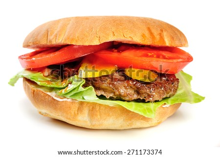 single fresh realistic looking hamburger isolated on white background