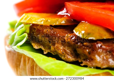 single fresh realistic looking pork hamburger closeup - stock photo