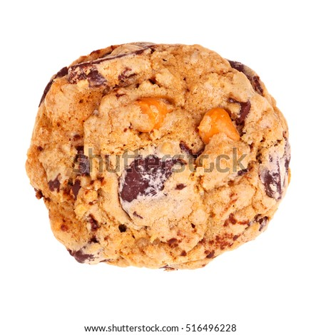 Single freshly baked, homemade chocolate and butterscotch chip oatmeal cookie isolated against a white background