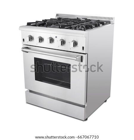 single gas range cooker with warming drawer isolated on white background steam fuel range with