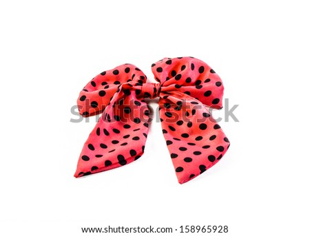 single general pink dot ribbon fillet hair isolated on white background - stock photo