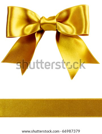 single gift bow, golden satin, with one ribbon isolated on white