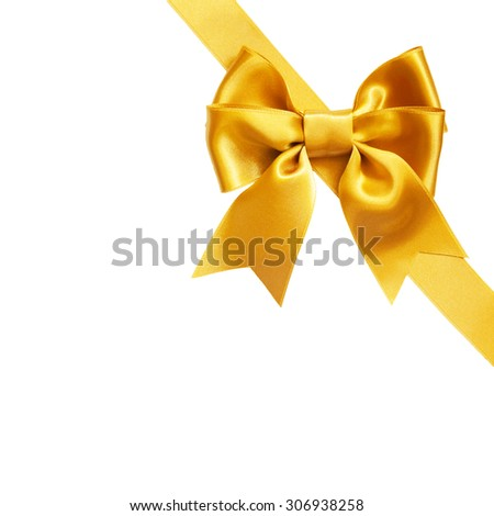 single gift bow, golden satin, with ribbon isolated on white