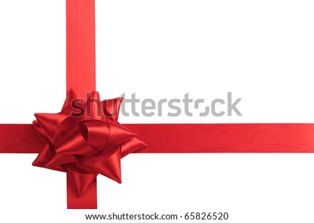 single gift bow of red color, cross ribbon isolated on white - stock photo