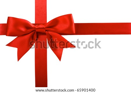 single gift bow of red color, cross ribbon isolated on white