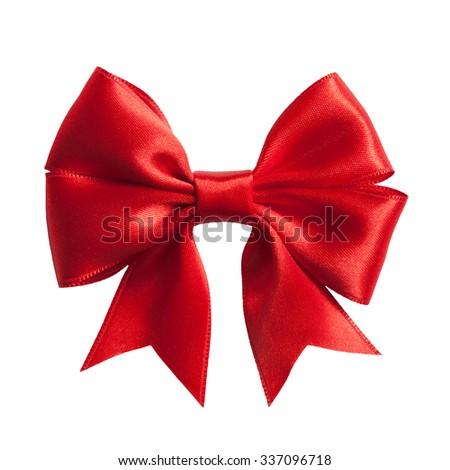 single gift bow, red satin, isolated on white - stock photo