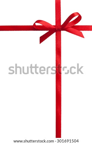 single gift bow, red satin, with cross ribbons isolated on white