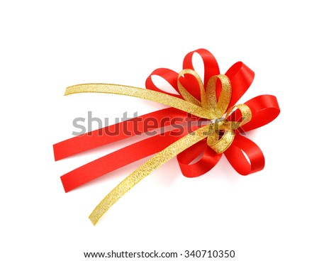 single gift bow, red satin, with one ribbon isolated on white  - stock photo