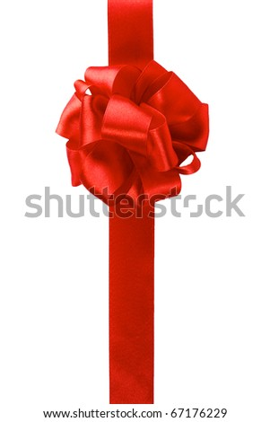 single gift bow, red satin, with one ribbon isolated on white